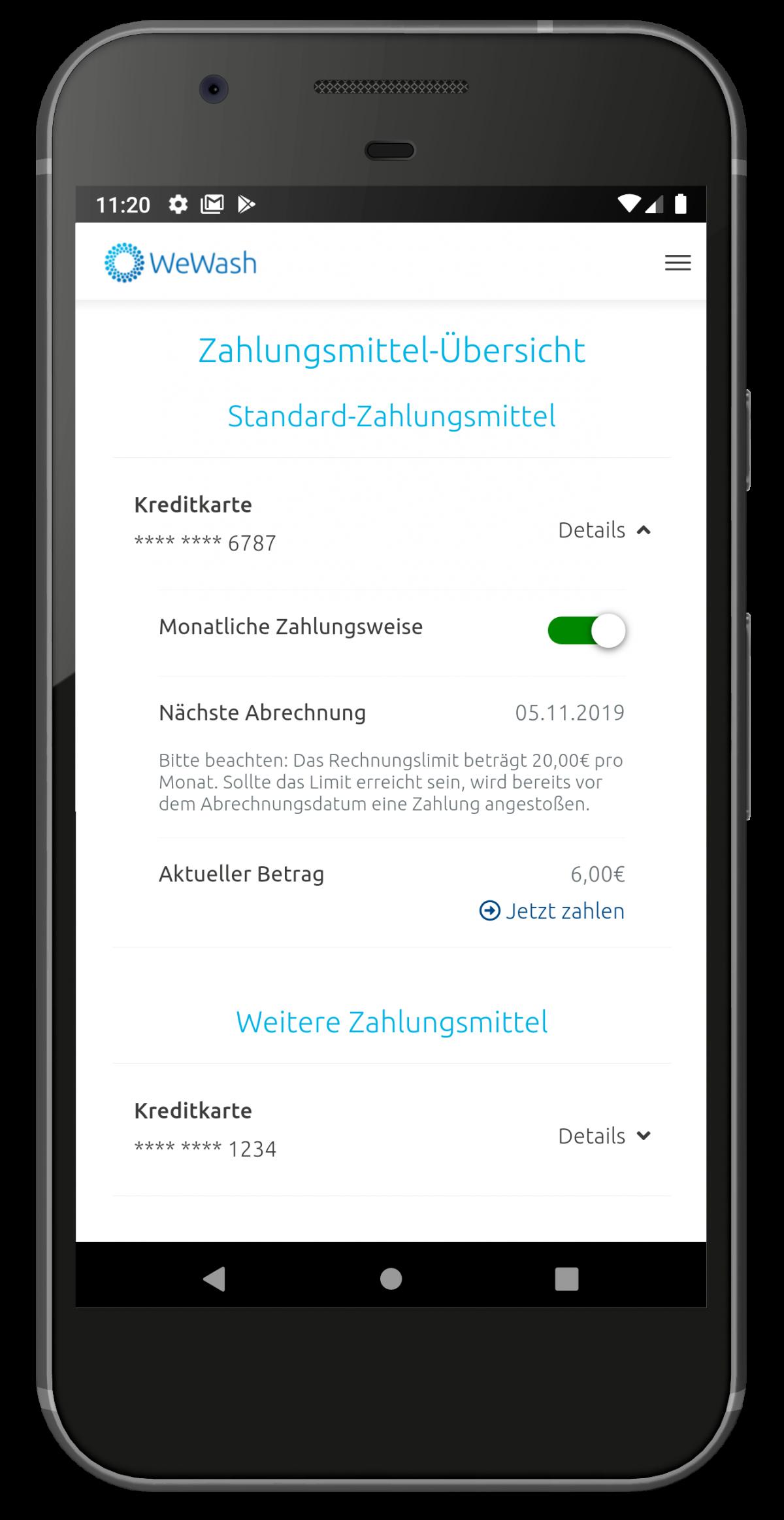 Smartphone Monatliche Zahlungsweise