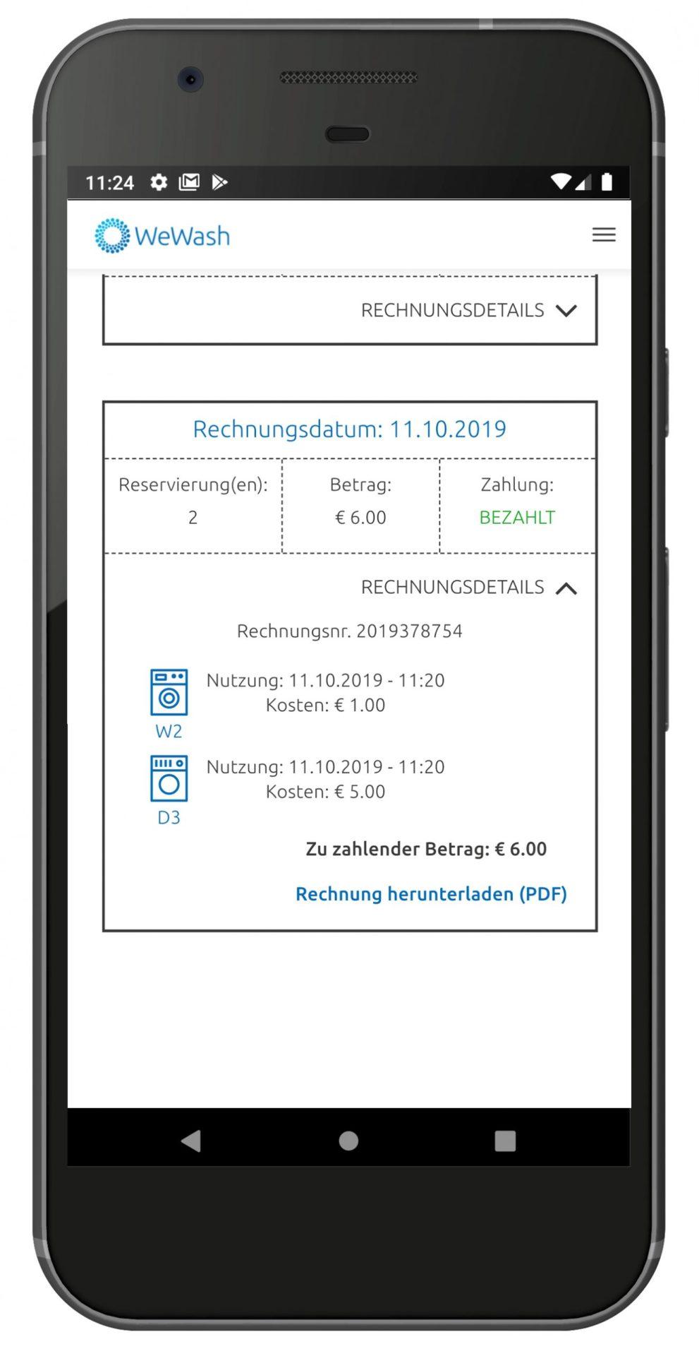 Smartphone Rechnungsübersicht
