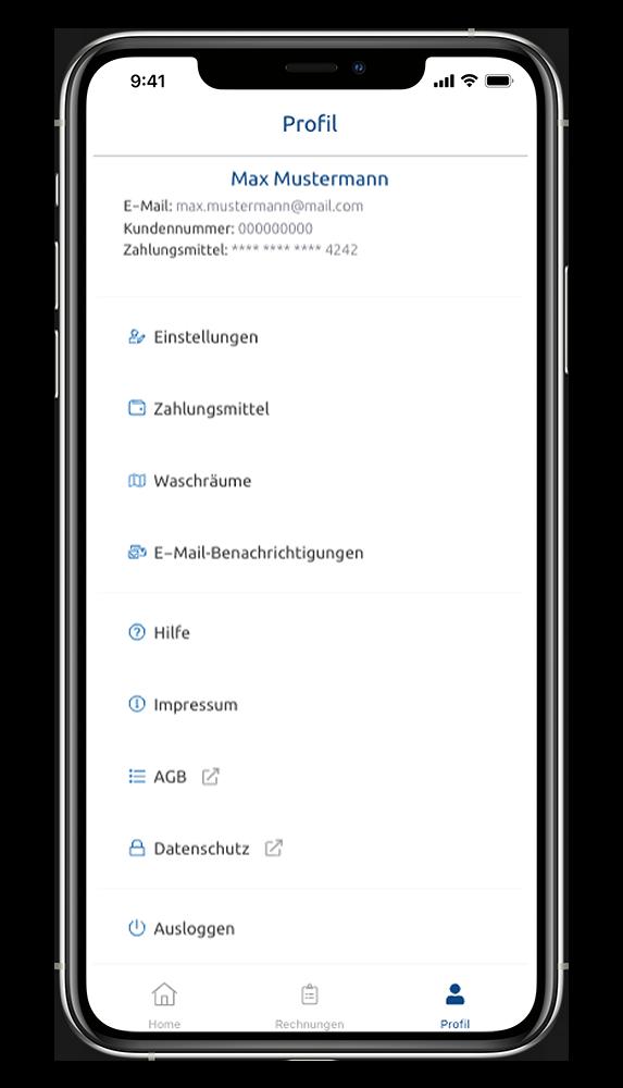 WeWash App Benutzer-Profil