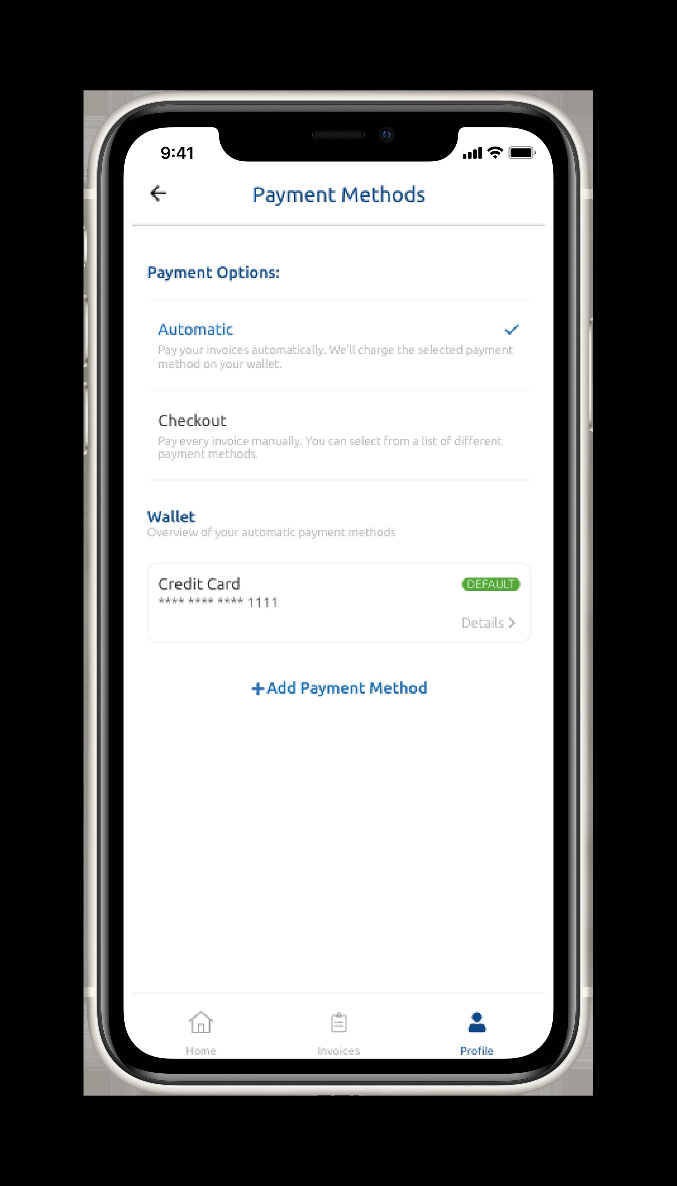 WeWash App Payment Methods